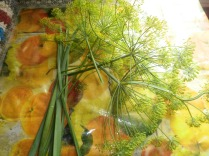 garlic leaves and dill